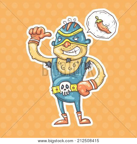 cartoon Mexican wrestler. vector illustration for web and print.