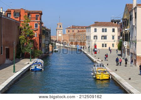 VENICE ITALY - SEPTEMBER 222017: Venetian Arsenal Fondamenta Arsenale old shipyard.12th century Arsenal was the largest industrial complex in Europe before the Industrial Revolution