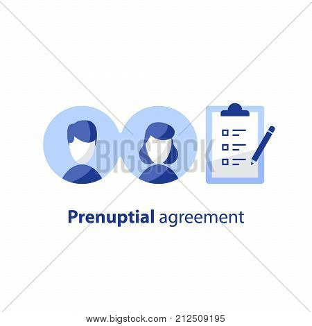 Prenuptial agreement document, couple divorce, check list clipboard, sociology concept, questionnaire form,  vector flat icon