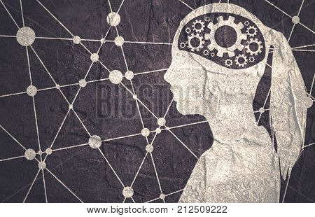 Silhouette of a woman's head. Mental health relative brochure design template. Molecule and communication background. Connected lines with dots. Gears icons in head as symbol of brainstorm or thinking