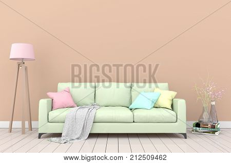 Minimal. Light brown living room interior with green fabric sofa, lamp, cabinet and plants on empty light brown wall background.3d rendering.