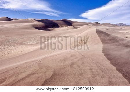 Alamosa, USA, 2017.09.19: On the sand dunes at the Great Sand Dunes National Park in the USA.