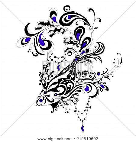 Abstract stylized tatoo fish with decorations, vector illustartion isolated