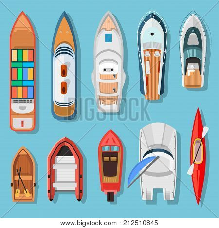 Ships and boats top view. Transport for travel on water surface, vessels above the sea or ocean background. Vector flat style cartoon illustration isolated on blue background