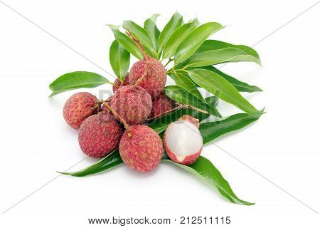 Fresh juicy lychee fruit (Litchi chinensis) with leaves peeled to show the flesh white on white background, Southeast Asia tropical fruit, Sweet and sour taste.