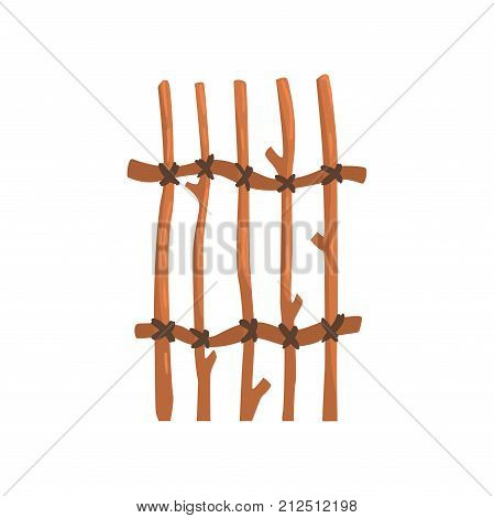 Rustic fence, boundary for farm or country house, cartoon vector Illustration on a white background