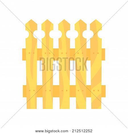 Wooden fence, boundary for farm or country house, cartoon vector Illustration on a white background