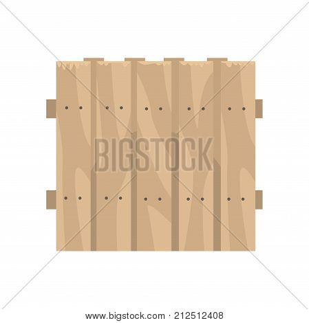 Old wooden brown fence, boundary for farm or country house, cartoon vector Illustration on a white background