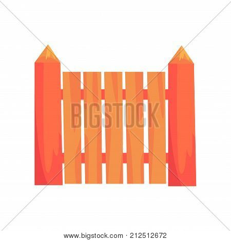Rural wooden fence, boundary for farm or country house, cartoon vector Illustration on a white background