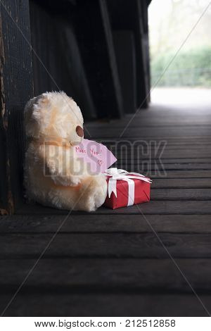 Miss you message and a teddy bear - Cute teddy bear holding a red gift box with white ribbon and bow and a piece of paper with the words miss you in a rustic wooden background.