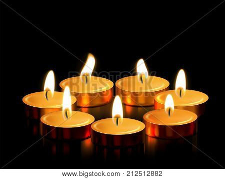 Candle light or golden candle decoration of burning flame for spiritual magic ceremony or witchcraft religious rite Diwali festival birthday or wedding. Golden 3D candles on black vector background