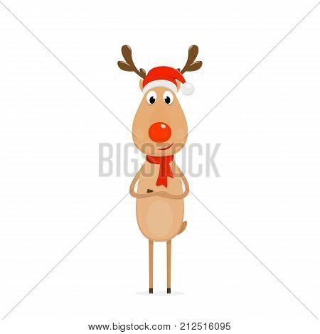 Christmas character deer Rudolph. Happy reindeer with red nose, hat of Santa and scarf, isolated on white background illustration.