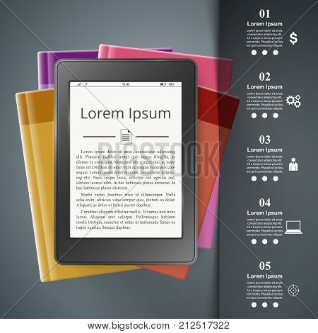 Ebook reader, Book reader, book icon. Business infographic Vector eps 10