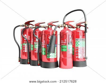 Fire Extinguishers Isolated On White Background No Shadow  Various Types Of Extinguishers 3D Illustr