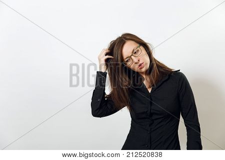 Pretty European Worried And Pensive Brown-haired Woman In Glasses For Sight And Headache, Dressed In