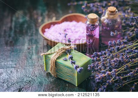 Concept Spa Therapy. Natural Handmade Soap, Fresh Lavender Blossoms With Natural Handmade Lavender O