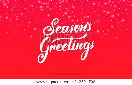 Christmas. Season's Greetings lettering design. Winter holiday card with Season's Greetings calligraphy and shiny glitter snowflakes and snow