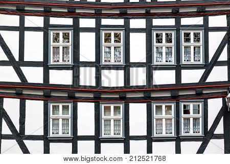 Historic black-and-white half-timbered house in medieval small town of Schlitz Vogelsberg. Schlitz is known throughout Hesse for the town's five castles and is also called the Romantische Burgenstadt Schlitz (the Romantic Castle Town of Schlitz).