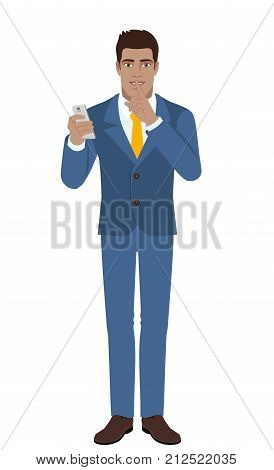 Hush hush. Businessman holding mobile phone and showing hush-hush sign. Full length portrait of Black Business Man in a flat style. Vector illustration.
