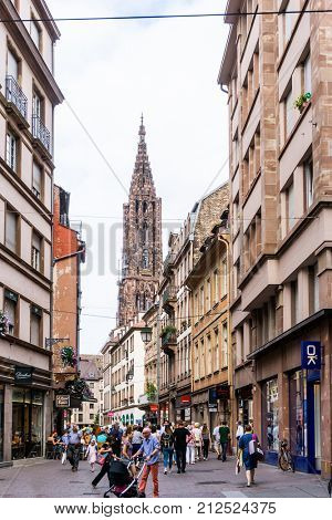 STRASBOURG, FRANCE - June 17, 2017 : Street view of Traditional houses in Strasbourg,  Alsace. is the official seat of the European Parliament, Located close to the border with Germany