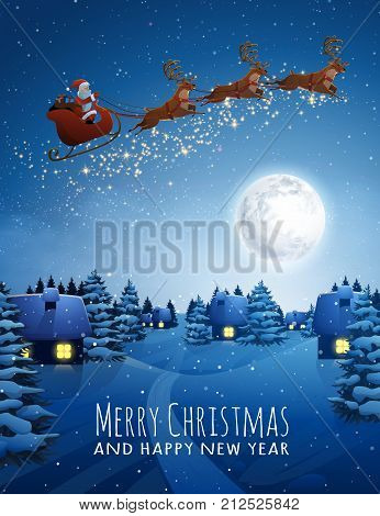 Santa Claus on deer Flying Sleigh with reindeers. Christmas Landscape snow Fir Tree at Night and Big Moon. Concept for Greeting or Postal Card. Background Vector Illustration in Cartoon Style.