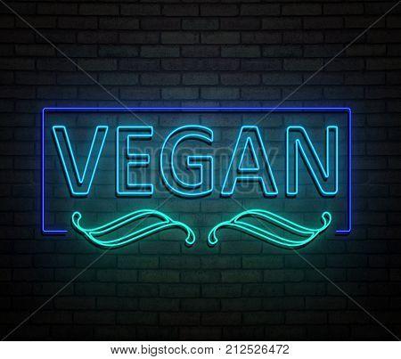 Neon Vegan Concept.