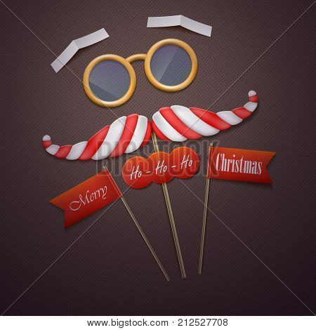 Santas mustache and glasses vector illustration. Santas mustache made of candy and glasses with Merry Christmas greeting on paper flags are laying on the knitted textile.