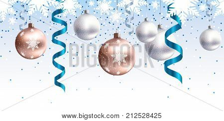 Festive Christmas decoration for website, social networks, blog or your video channel. Seamless horizontal pattern. The endless tape. Vector. EPS10. Rose gold christmas balls and blue serpentine.