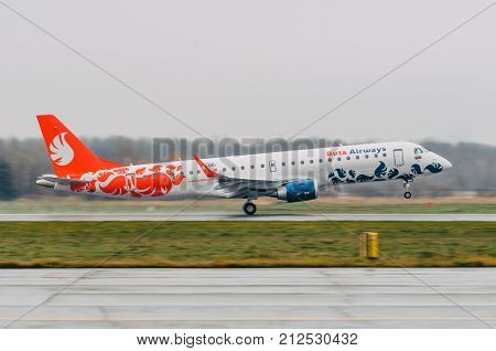 Embraer E-jet 190 Of Buta Airways. Airport Pulkovo, Russia Saint-petersburg. October 30, 2017.