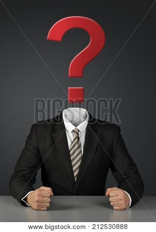 Businessman without head with question mark on dark