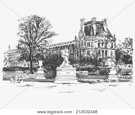 sketch drawing of the Louvre, famous place from Paris, France, black and white vector illustration