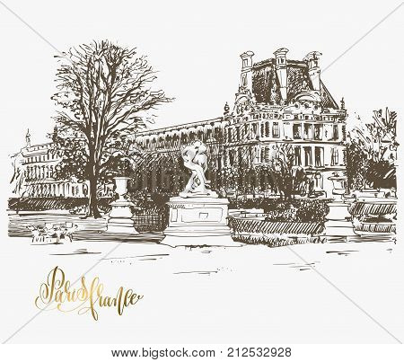 sketch drawing of The Louvre, Paris, France with golden hand lettering to travel card, poster or postcard, hand draw vector illustration