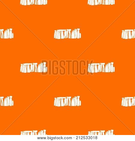 Stonehenge pattern repeat seamless in orange color for any design. Vector geometric illustration
