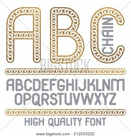 Vector Type Font, Script From A To Z. Upper Case Decorative Letters, Abc Created Using Metal Connect