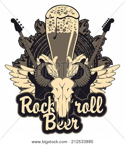 Vector banner for a rock pub with live music with an inscription and a picture of a full glass of beer bull skull acoustic guitars wings and vinyl records in the fire
