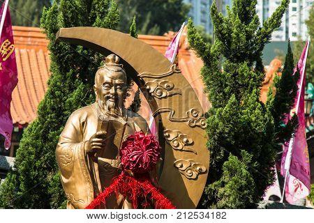 HONG KONG CHINA - December 11 th 2016 : God of marriage on December 11 th 2016 in Hong Kong. God of marriage in Wong Tai Sin Temple.