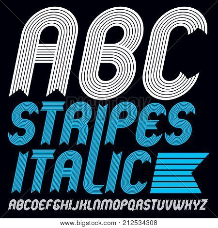 Set Of Cool Vector Upper Case English Alphabet Letters Isolated. Funky Bold Italic Font, Typescript