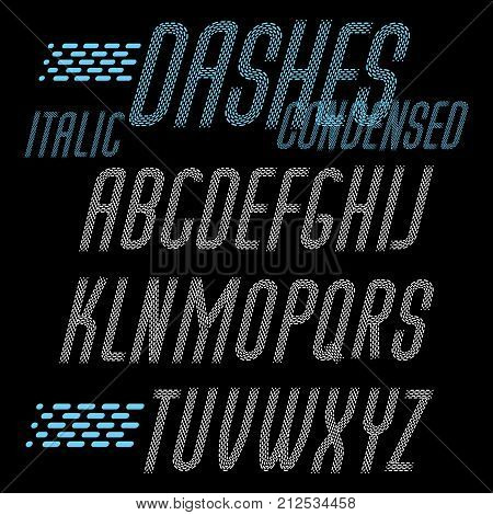 Set Of Cool Vector Condensed Upper Case English Alphabet Letters Isolated. Rounded Italic Font, Type