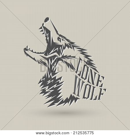 Lone wolf symbol design on gray background