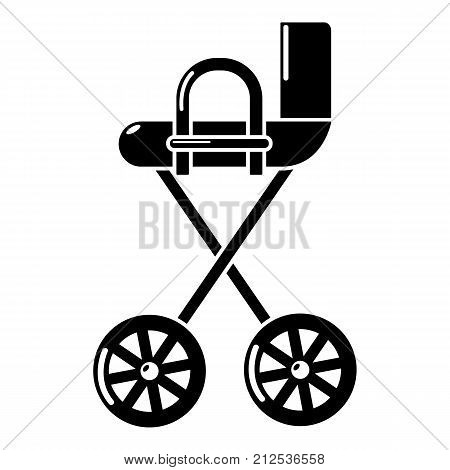 Baby carriage yellow icon. Simple illustration of baby carriage yellow vector icon for web