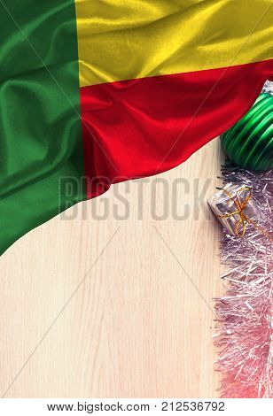 Grunge colorful flag Benin, with copyspace for your text or images. Congratulations on Christmas and New Year.