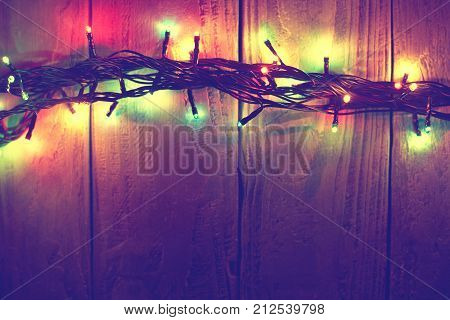 Christmas Background With Lights And Free Text Space. Christmas Lights Border. Glowing Colorful Chri