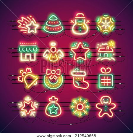 Set of Christmas colorful neon signs makes it quick and easy to customize your holiday projects. Used neon vector brushes included.