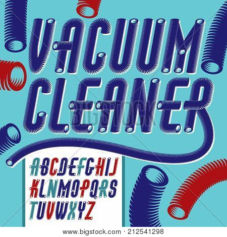 Vector condensed tall funky capital italic alphabet letters collection. Retro font script from a to z can be used in poster art. Created using dimensional vacuum pipe style.