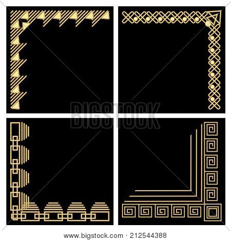 Decorative frame corner, gold material, filigree ornamental patterns in art deco style on black background, Vector EPS 10