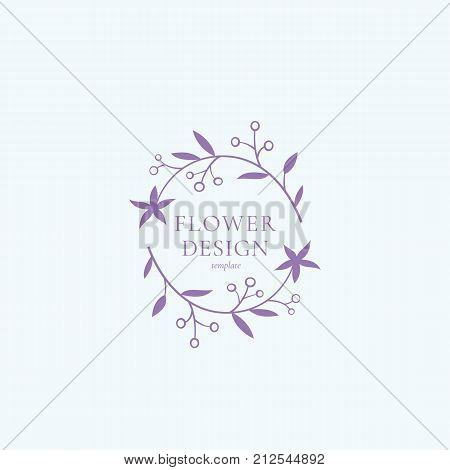Flower Design Vector Sign, Symbol or Logo Template. Abstract Retro Floral Illustration with Classy Typography. Cute Premium Quality Emblem for Beauty Salon, SPA, Wedding Boutiques, etc. Isolated.