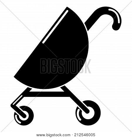 Baby carriage pink icon. Simple illustration of baby carriage pink vector icon for web