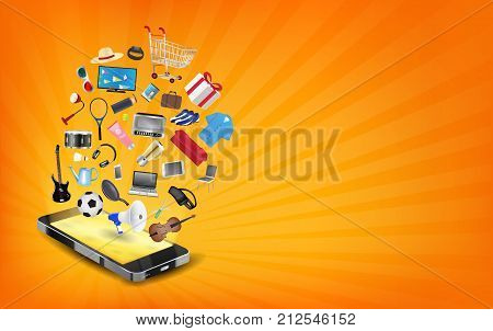 a smartphone online shopping with shopping object