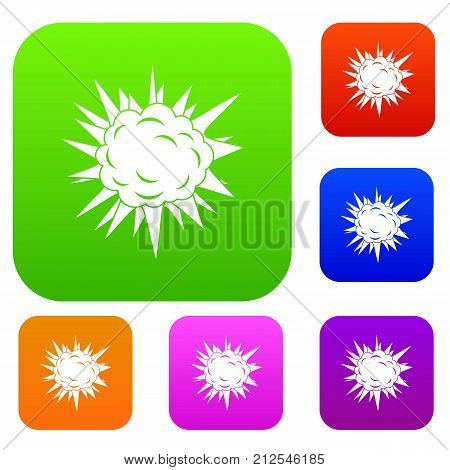 Terrible explosion set icon color in flat style isolated on white. Collection sings vector illustration