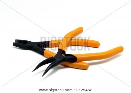 Set Pliers On White Background